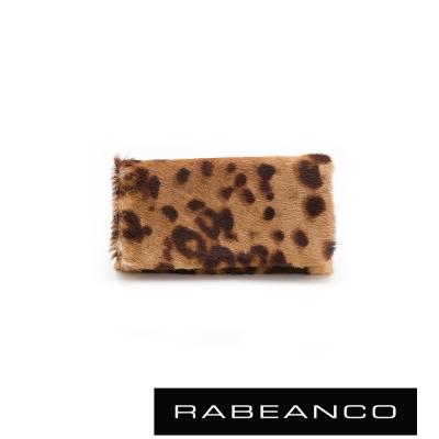 RABEANCO-率性動物紋毛料鑰匙包-豹紋紅
