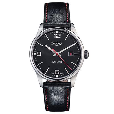 DAVOSA Gentlemen 現代經典紳士系列腕錶-黑面/紅色車線黑皮帶/40mm