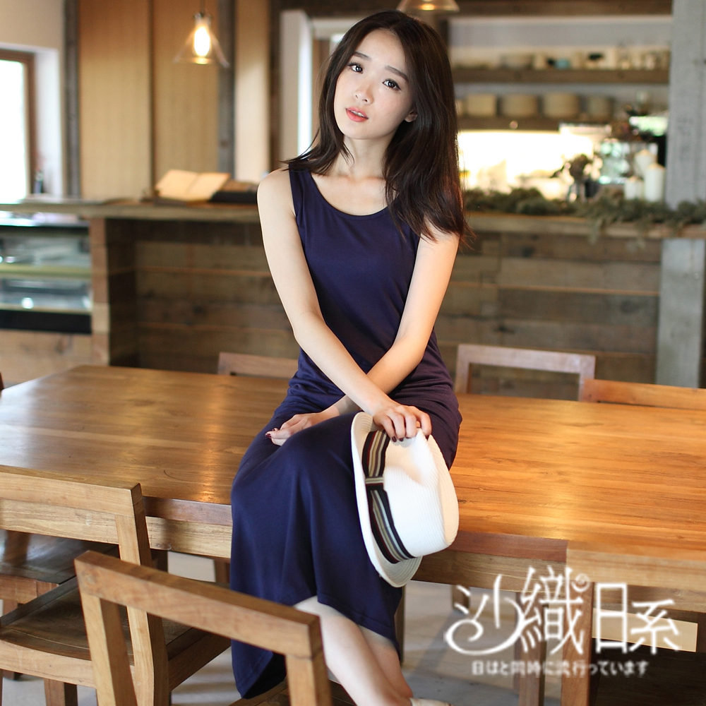 洋裝 純色無袖長洋裝(藍)-沙織日系