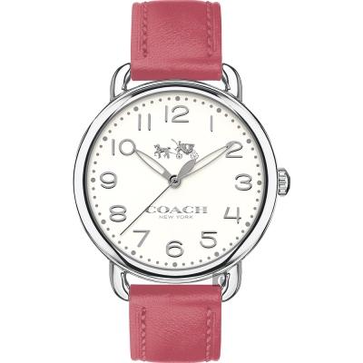 Coach Delancey 紐約風摩登腕錶-白x粉紅/35mm