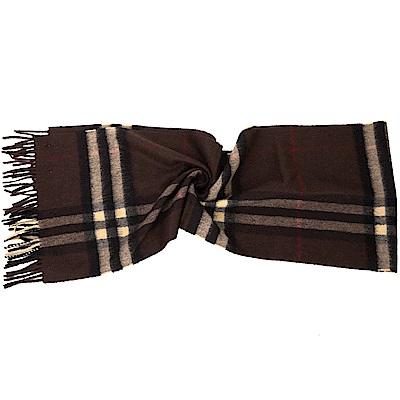 BURBERRY 100%喀什米爾深咖啡經典格紋圍巾
