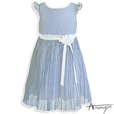 甜美透明格紋荷葉花朵飄逸裙襬洋裝*5123藍