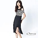 OUWEY歐薇 飄飄雪紡配條露臂長洋裝(黑)-動態show