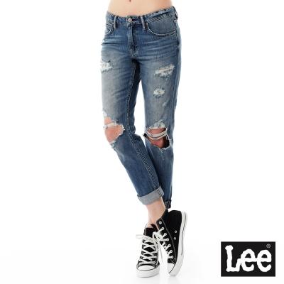 Lee 牛仔褲 401中腰標準合身小直筒牛仔褲/VL-女款-藍