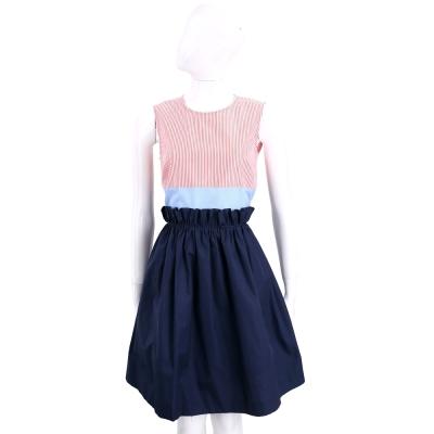 Max Mara-SPORTMAX 藍x粉色條紋拼接棉質無袖洋裝