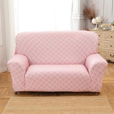 歐卓拉 粉色空間棉柔沙發套2人座
