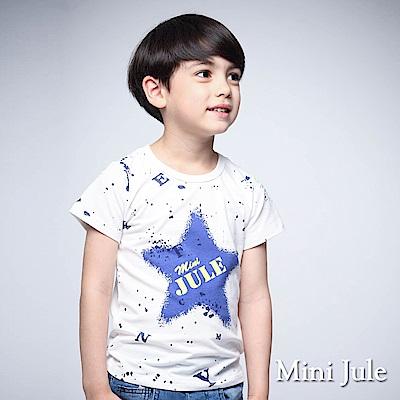 Mini Jule 童裝-上衣 潑墨感藍星星字母短袖棉T(米白)