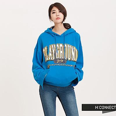 H:CONNECT 韓國品牌 女裝 - 復古風印字棉質帽T - 藍