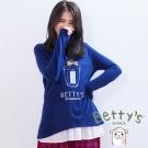 betty's貝蒂思 立體小蝴蝶結香水造型拼接雪紡針織衫(藍色)