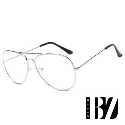 BeLiz 炫彩糖果 透視飛官細框平光眼鏡 銀框
