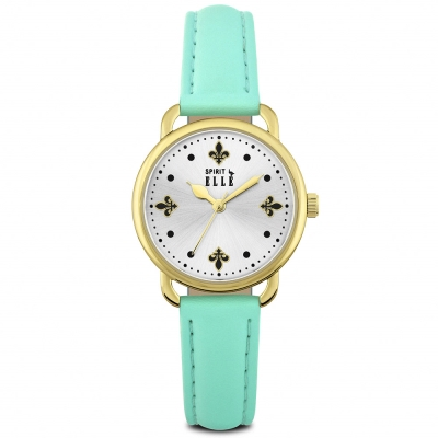 ELLE 巴洛克風時尚皮革腕錶-銀-水湖綠/32mm