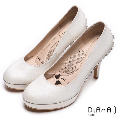 DIANA 漫步雲端LADY款--閃閃動人星空感奢華亮鑽跟鞋-米