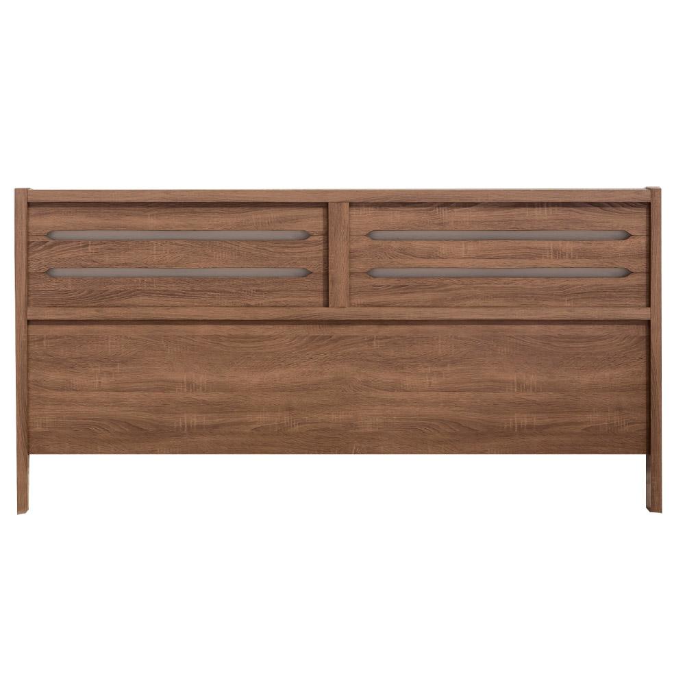 品家居 莫爾5尺胡桃木紋雙人床頭片-152x3.5x93cm免組