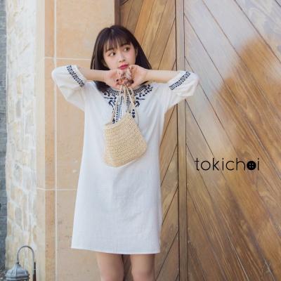 東京著衣 民俗風鑲邊刺繡流蘇綁帶洋裝-S.M(共一色)
