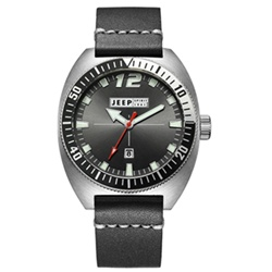 Jeep Spirit 美式復古系列時尚休閒時裝真皮手錶-黑面/黑色帶-46mm