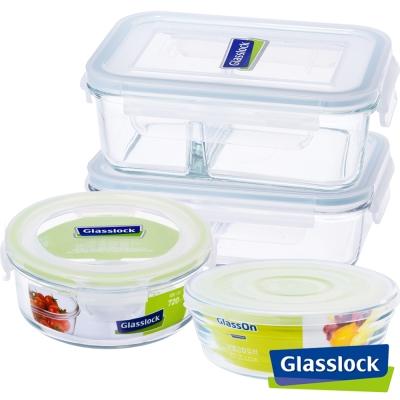 Glasslock強化玻璃分格微波保鮮盒-分隔藏鮮4件組