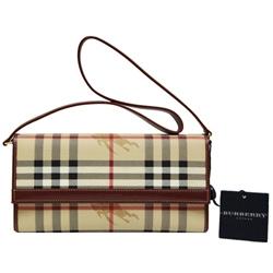BURBERRY經典戰馬格紋皮革飾邊側肩長夾小包-棕