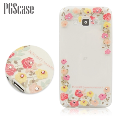PGS Samsung Galaxy E7 奧地利彩鑽手機殼-粉彩玫瑰