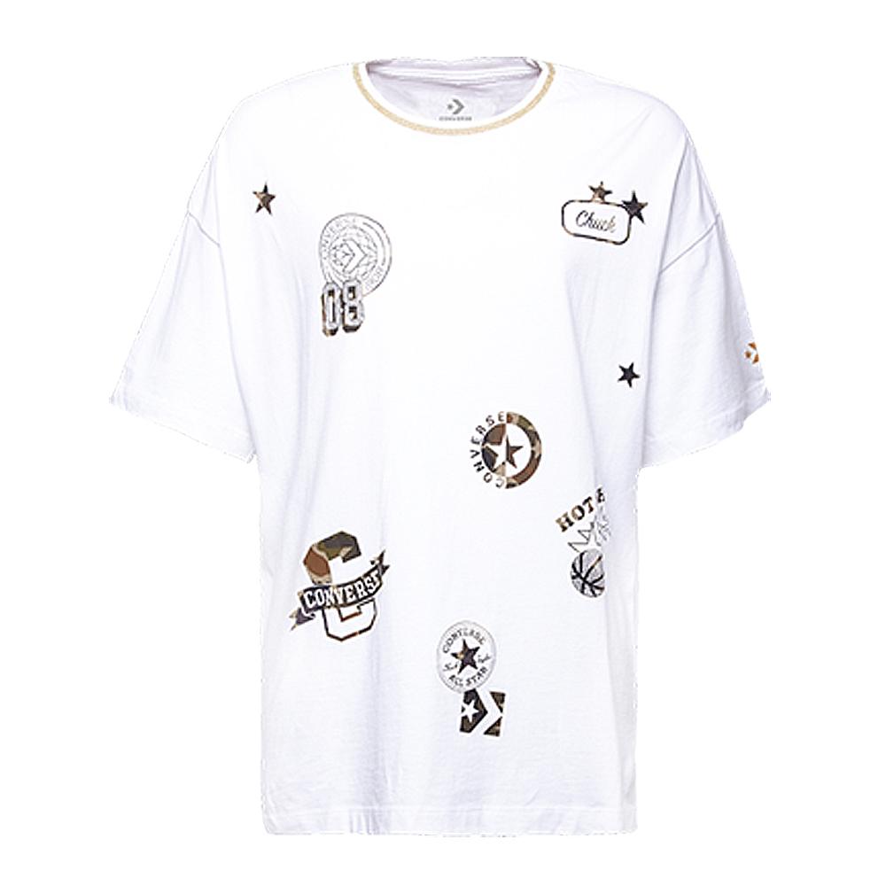 CONVERSE-女休閒短T恤10006031-A01-白
