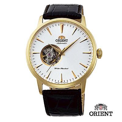 ORIENT 東方錶 SEMI-SKELETON系列 半鏤空機械錶 皮帶款 金色