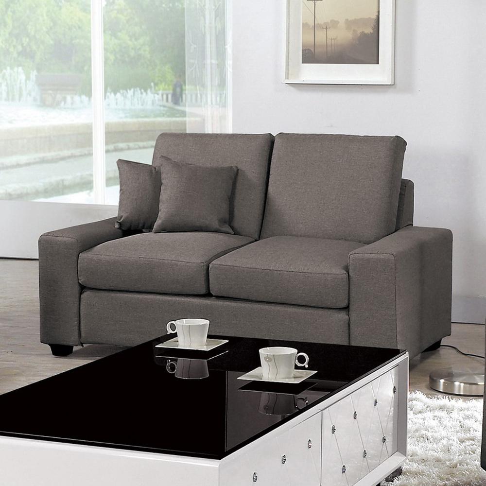 Boden-布拉格灰色布雙人座(附抱枕)