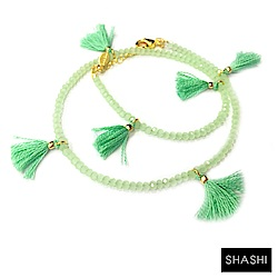 SHASHI LAILA CRYSTAL 彩色流蘇 水晶幸運手鍊 雙層款 薄荷綠