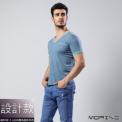 男內衣 設計師聯名-經典緹花短袖衫/T恤  藍色 MORINOxLUCAS