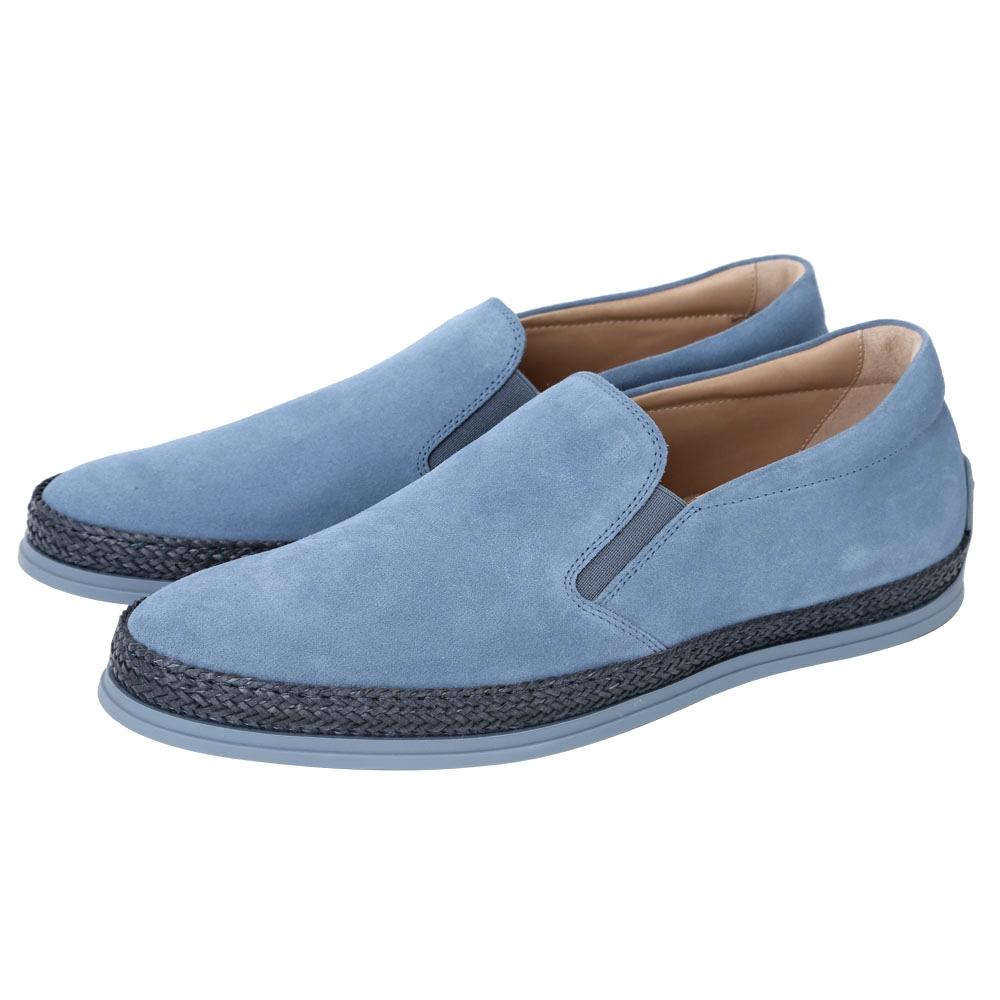 TOD'S Slip-ons 麻料滾邊麂皮休閒鞋(男鞋/藍色)