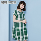 YVONNE COLLECTION 棉麻格紋短袖洋裝- 綠