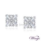 Wings 冰晶閃耀 璀璨八心八箭與T鑽的美妙組合 方晶鋯石精鍍白K金耳環