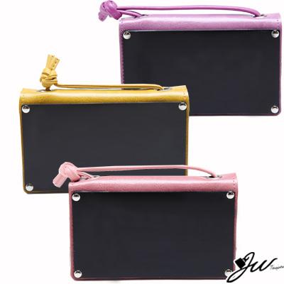 JW真皮皮夾小復古反光鏡面手拿肩背小包-迷你版-共8色-粉-咖-紫-黃
