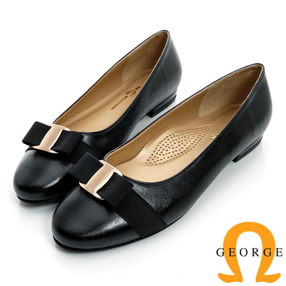 GEORGE-蝴蝶金屬飾扣圓頭真皮低跟鞋-黑色