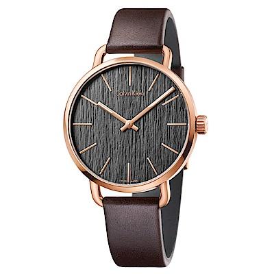 CK CALVIN KLEIN Even 超然系列咖啡色木質紋鍍PVD玫瑰金手錶-42mm