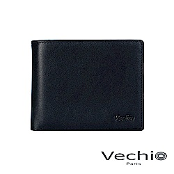 VECHIO-紳士商務款II-經典素面皮革4卡零錢袋皮夾-午夜藍