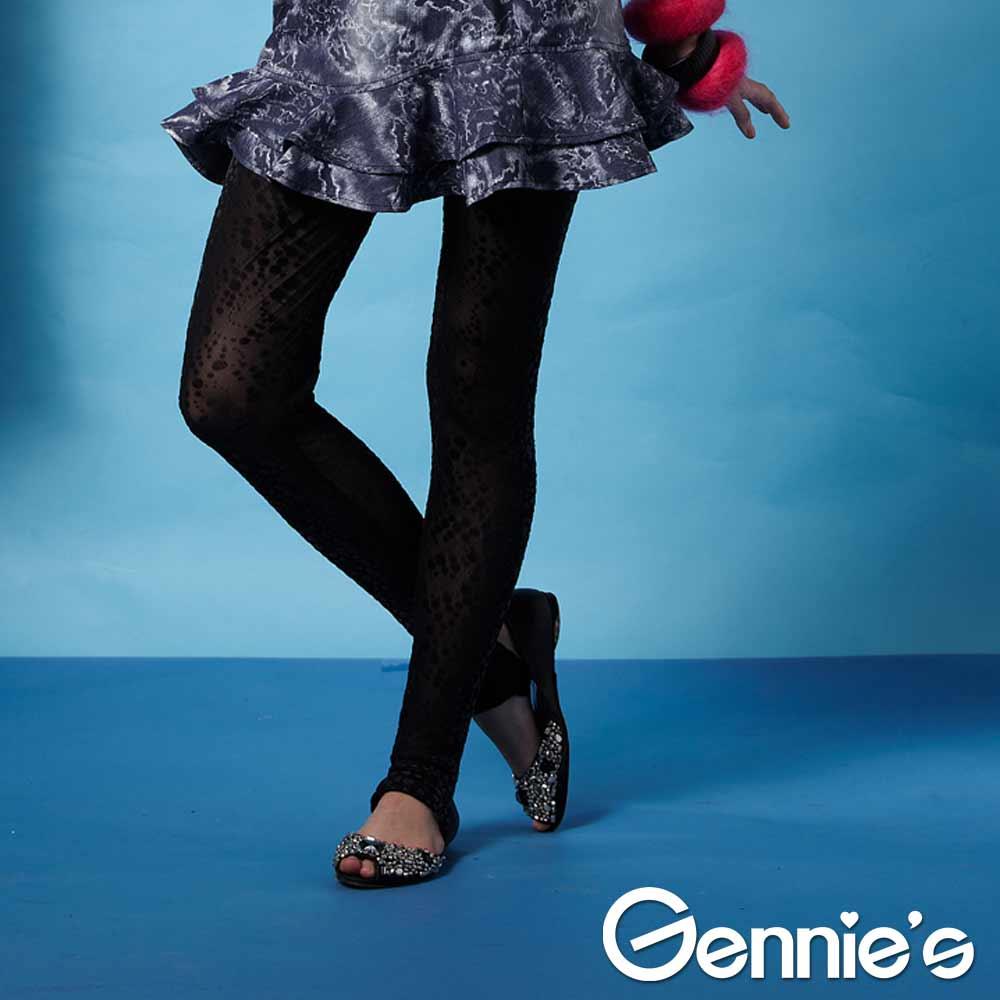 一體成型【Gennie's奇妮】時尚點點透膚秋冬孕婦踩腳褲-黑 (G4202)