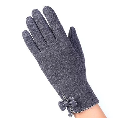 幸福揚邑-防風加絨觸控騎車開車保暖棉手套-時尚蝴蝶-灰色