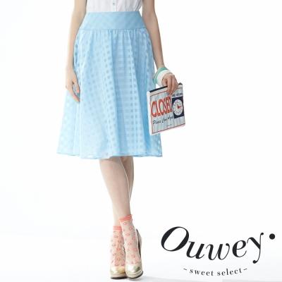 OUWEY歐薇 透明感格紋大圓裙(共2色)
