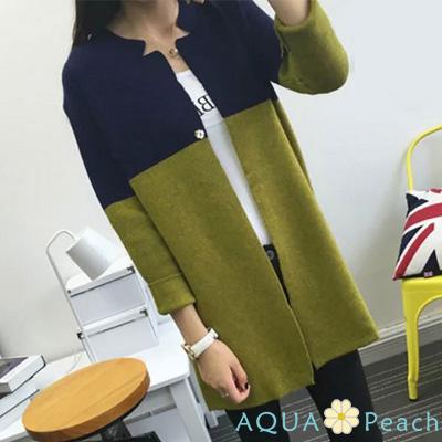 撞色小領暗釦式針織外套 (共三色)-AQUA Peach