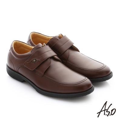 A.S.O 頂級氣墊 蠟感牛皮魔鬼氈奈米紳士皮鞋 咖啡色