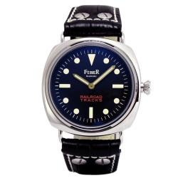 FIBER 鐵軌系列手上鍊復古軍用錶款-黑/45mm