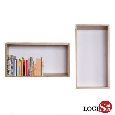 LOGIS邏爵 木紋魔術格子壁櫃 壁架 展示櫃-長方形兩入組