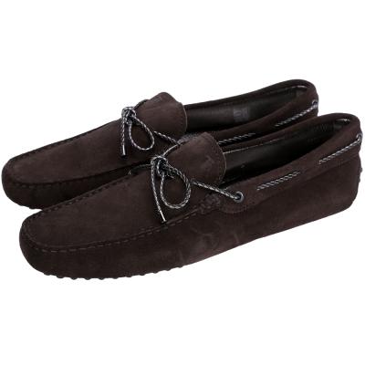 TOD'S Gommino Driving 雙色編織綁帶豆豆休閒鞋(深咖啡色)