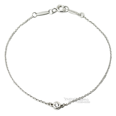 TIFFANY&Co.Elsa Peretti 0.03克拉圓形鑽石925純銀手鍊