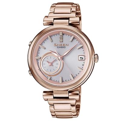 SHEEN 雅典娜之美藍芽傳輸太陽能日曆腕錶(SHB-100CG-4A)金色/35mm