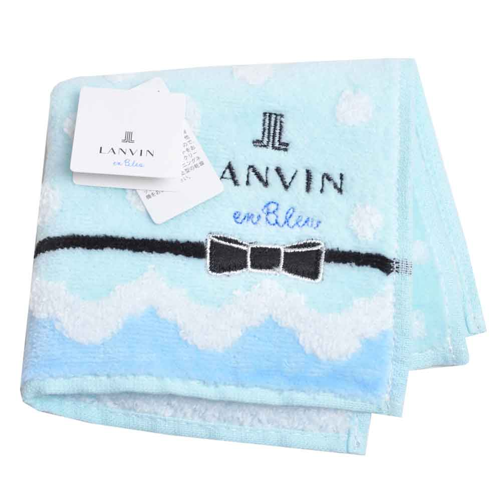 LANVIN en bleu 蝴蝶結品牌LOGO刺繡小方巾(淺藍系)