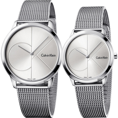 Calvin Klein CK Minimal 經典大LOGO對錶-銀/40+35mm