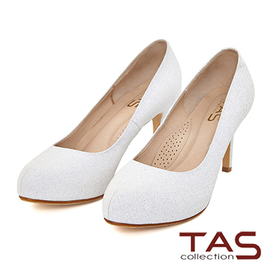 TAS 光澤閃爍銀蔥高跟鞋-優雅白