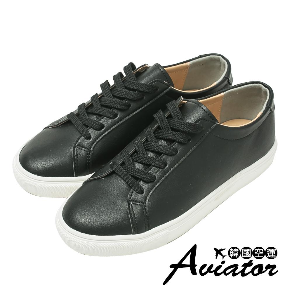 Aviator*韓國空運-正韓製純色皮革繫帶休閒鞋-黑