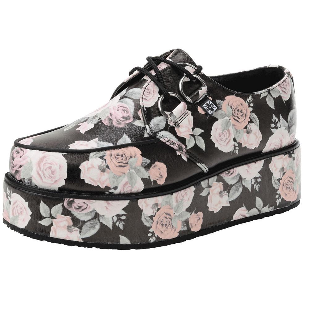 TUK玫瑰圖紋龐克鞋-5CM-黑