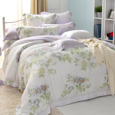 法國CASA BELLE 雙人天絲刺繡防蹣抗菌吸濕排汗兩用被床包組-伊蕾娜